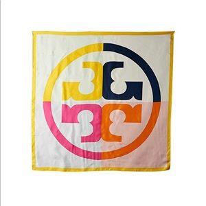Tory Burch logo silk scarf